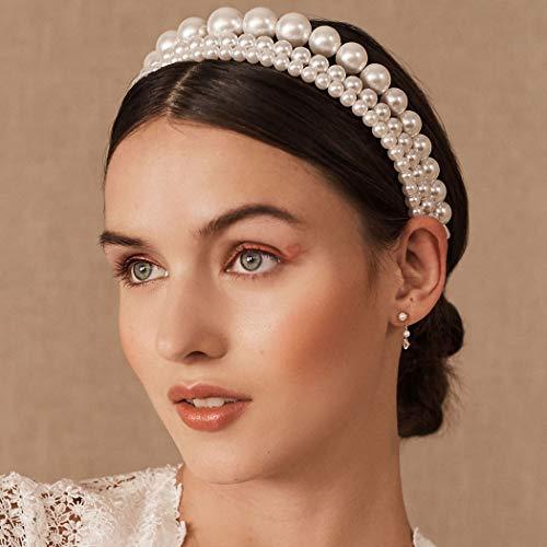 Bohend Moda Perla Mujer Venda Rosario Aro de pelo Sólido Sombreros Uso diario Accesorios para el cabello para Mujer y Grils (3 paquetes)