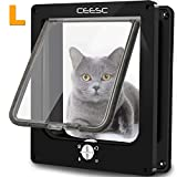 CEESC Large Cat Flap, Magnetic Pet Door with Rotary 4 Way Lock for Cats, Kitties and Kittens, Upgraded Version