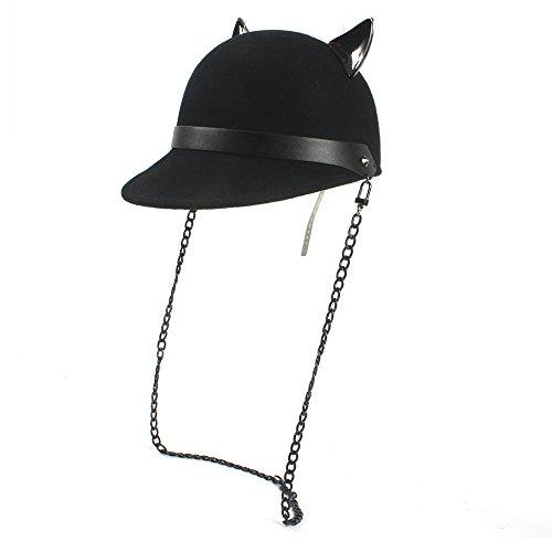 Hüte & Mützen 100% Wolle Schwarze Frauen Fedoras Cap mit Teufel Hörner Cute Cat Ohr Hut Kawaii REIT Hut (Farbe : Schwarz, Größe : 56-58cm)