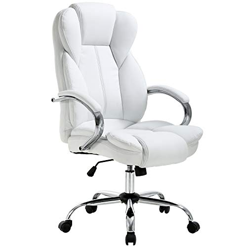 Ergonomic Office Chair Desk Chair PU Leather Computer Chair Executive Adjustable High Back PU Leather Task Rolling Swivel Chair with Lumbar Support for Women Men, White