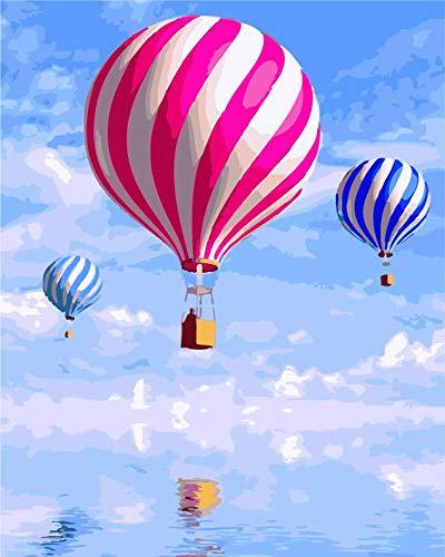Fuumuui Set Malen nach Zahlen, DIY Digitales Leinwand,Ölgemälde, Geschenk für Kinder, Studenten, Erwachsene, Anfänger, Heißluftballon, 40,6 x 50,8 cm