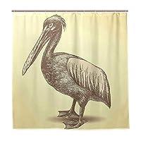 KAPANOU防水 シャワーカーテン 手スケッチスタイルペリカン鳥野生動物に触発された動物 かわいいシャワーカーテン ユニットバス バスルーム 芸術の装飾 180cmx180cm バスフック付き 取り付け簡単