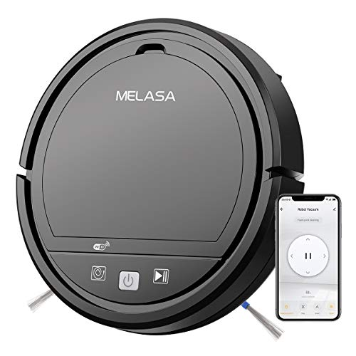 Robot Vacuum, MELASA Robotic Vacuum Cleaner, Wi-Fi Connectivity, 1200Pa Suction, Quiet Multiple Cleaning Modes Robot Vacuum and Mop, Best for Pet Hair, Hard Floor and Low Pile Carpet, Black