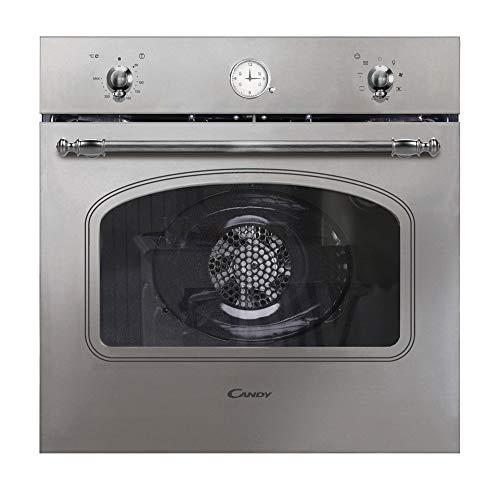 Candy FCC604X/E Horno vintage multifunción, 65l , reloj analógico, puerta doble cristal, ventilador tangencial, A+, inox