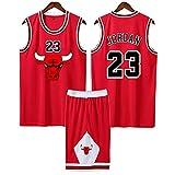 QJJ Adultos Y Niños Michael Jordan Retro Basketball Jersey, Chicago Bulls 23# Swingman Basketball Uniform Suit, Equipo De Competición Kits De Ropa Deportiva para Estudi Jordan A-4XL