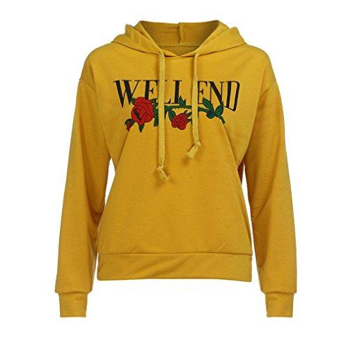 TWIFER Damen Mädchen Brief Print Hoodie Sweatshirt Kapuzenpulli Kapuzenpullover Bluse (M, Gelb)