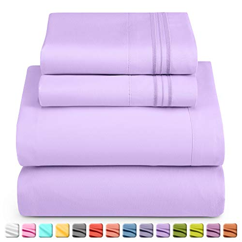 Nestl Deep Pocket Split King Sheets: 5 Piece Split King Size Bed Sheets with Fitted Sheet, Flat Sheet, Pillow Cases - Extra Soft Bedsheet Set with Deep Pockets for Split King Mattress - Lavender