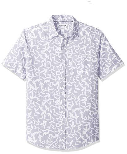 Amazon Essentials - Camisa de lino a rayas, de manga corta y corte entallado para hombre, Lavendar Leaf Print, US M (EU M)