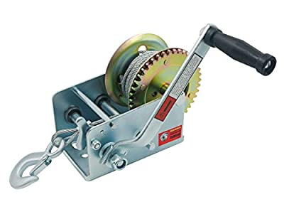 TYT 2500lbs Hand Winch Crank Gear Winch, Heavy Duty Hand Winch with Length 8M(26ft) Steel Wire and Hook, for Trailer Boat or ATV/UTV(2500LBS)