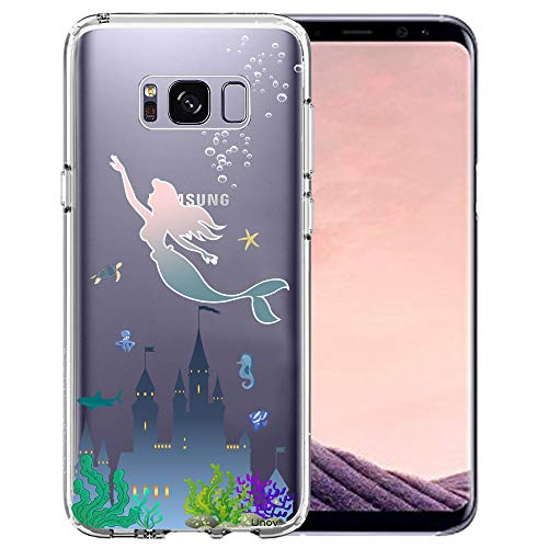 Unov Phone Case Compatible with Galaxy S8 Plus Clear with Design Soft TPU Shock Absorption Slim Embossed Pattern Protective Back Cover (Mermaid Castle)