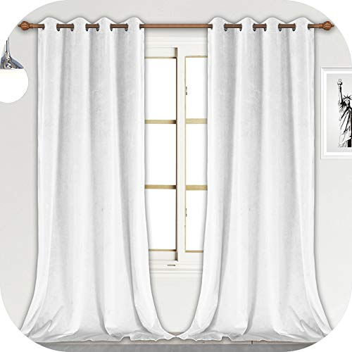 ZHAOFENG White Velvet Curtains with Grommet, Blackout SoftLuxury ThickSunlight Dimming Heat InsulatedPrivacy ProtectVelour Drapes for Livingand Dining Room, 2 Panels, W52 x L108 Inches
