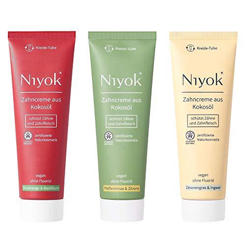 Niyok® Kokosöl Zahnpasta ohne Fluorid und Mikroplastik Plastik | Bio Naturkosmetik Sensitiv auch für Kinder | Xylit Herbal | natürliche Zahncreme VEGAN Geschmack Toothpaste (3x 75ml)