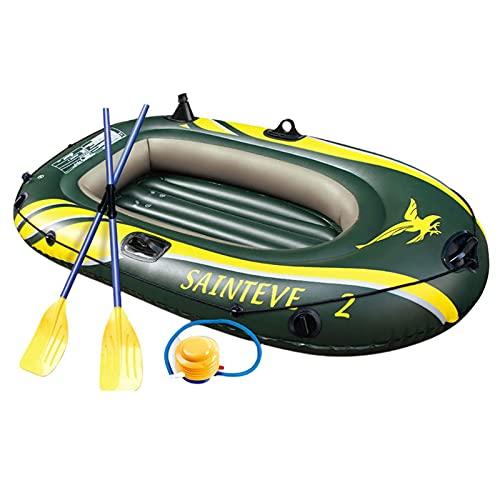 Barca Hinchable Bote, Inflable Kayak, con CojíN PVC Remos de Aluminio y Bomba Plegable,Barco De Pesca Deporte Acuático Portátil, para Rafting,Diversión En El Agua