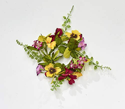 Worth Imports 11' RED & Yellow Pansy Set of 2 Candle Ring, Yellow,Red,Pink,Green