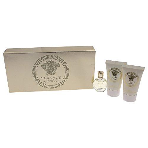 Versace Eros Pour Femme 3 Pieces Travel Kit - Eau De Parfum, Shower Gel & Body Lotion, PINK , 3 Count