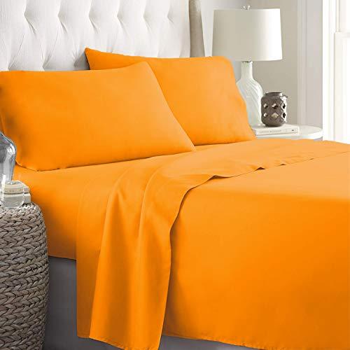 LARA MORADA Set Completo Letto Lenzuola Made in Italy 100% Cotone Tinta Unita Disponibile in 17 Colori (Arancione, Matrimoniale 2P)