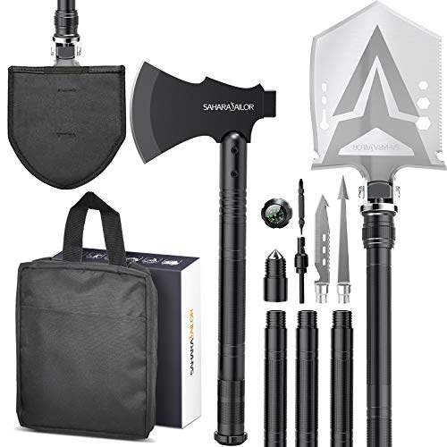 Sahara Sailor Survival Shovel with Axe, High Carbon Steel Tactical Shovel Camping Shovel Hatchet...