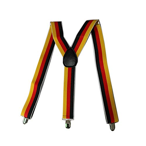 LLZGPZBD bretels geometrische rode gele zwarte strepen 3,5 cm breed mode mannen elastiek riem bretels