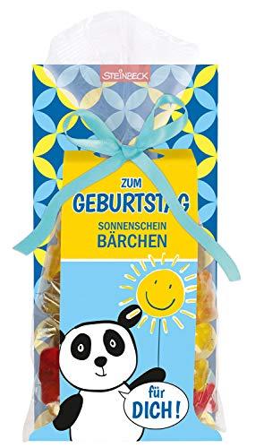Geburtstag Geschenk Fruchtgummi Panda STEINBECK 100g Sonnenschein Bärchen Glück süß Mitgebsel Sonne Happy Birthday Mitbringsel zum Naschen Alles Gute Für Dich Frau Mann Kinder