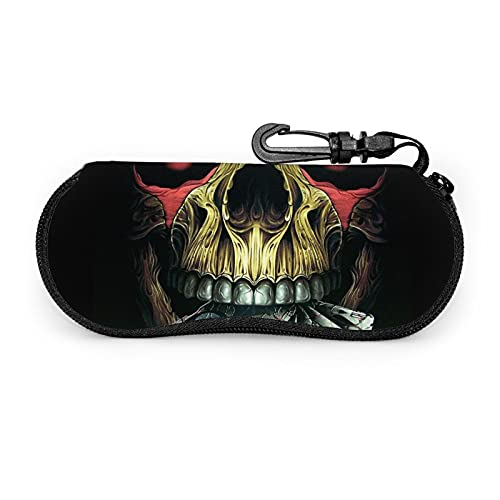 Skull Play Poker Death Card Estuche para gafas de sol con clip para cinturón con cremallera ultra ligero gafas bolsa