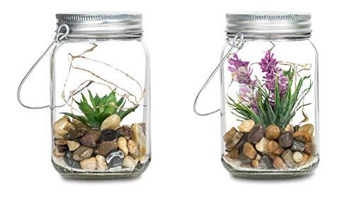 4er Set Sukkulenten Im Glas B x H: 8 x 13 cm Deckel LED Warmweiß Henkel Deko Tischdeko Lampe Kunstpflanze Hängelampe - 3