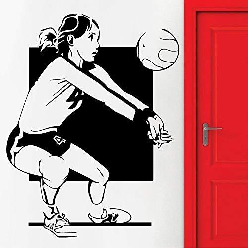 Blrpbc Adhesivos Pared Pegatinas de Pared Decoración de Pared de Gimnasio de Voleibol, Deporte Femenino, Juego de Deportes, decoración del hogar de Vinilo para Dormitorio 84x64cm