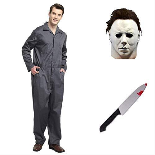 thematys® Juego de Disfraces de películas de Terror de Michael Myers con máscara y Cuchillo en 5 tamaños Diferentes Carnaval y la Noche de Brujas (M)