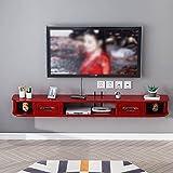 LJXX Mueble de TV Flotante, Soporte de TV de Alto Brillo, Consola Multimedia de TV de Centro Multimedia Montado en la Pared para Sala de Estar Dormitorio, Blanco, 120cm