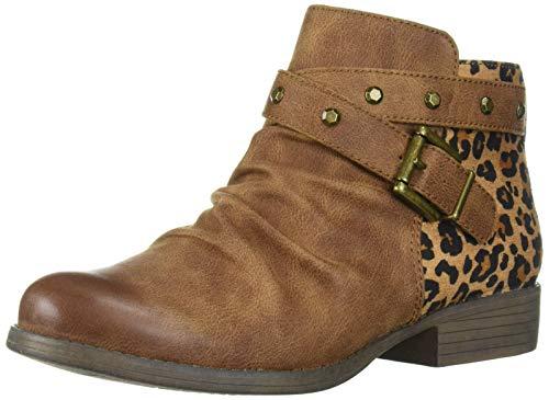"White Mountain Shoes""SAVANT"" Women's Boot, SADDLE/WAXY/FABRIC W/LEOPARD, 6H M"