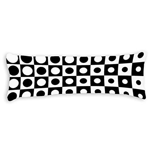 Tamengi Body Pillow Cover,Black and White Circular Grid Rules Change Visual Art Pattern, Long Pillowcase with Zipper Closure, Bedding Bedroom Decor Home Gift