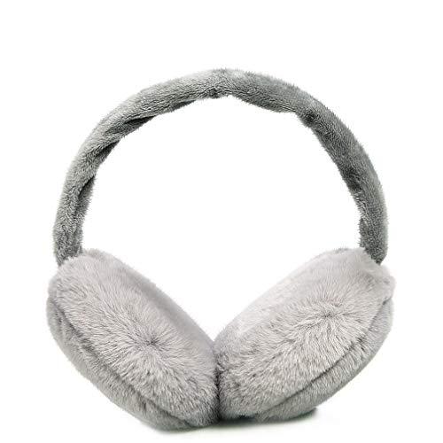 Ear Muffs for Winter Foldable Soft Ear Warmers Adjustable Wrap Faux Fur Earmuffs (Gray)