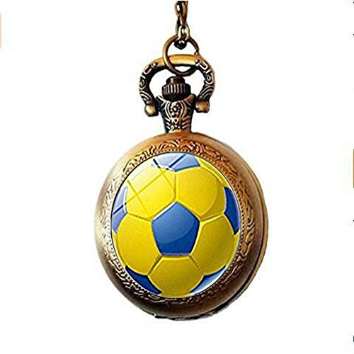 DZX Reloj de Bolsillo de Estilo Antiguo, balón de fútbol, Foto, cabujón,...