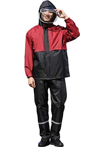ASARANS レインウェア レインスーツ レインコート メンズ レディース 雨具 上下 セット アウトドア 防水 撥水 自転車 バイク 通勤 通学 (XL, レッド)
