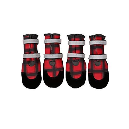 JINSUO FDCW Botas de Zapatos de Invierno for Perros de Alta Tubo Impermeable cómoda Goma Antideslizante único Perro Grande y Mediano Perro Protector de la Garra (Color : Rojo, Talla : M)