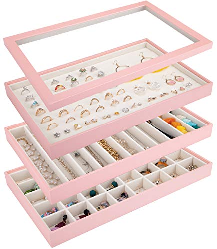 Mebbay Stackable Jewelry Trays Organizer with Lid, Jewelry Storage Display Trays for Drawer, Earring Necklace Bracelet Ring Organizer, Set of 3 (Pink)