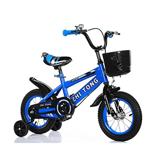 Bicicleta para niños y niñas Freestyle bicicleta 12 14 16 pulgadas con ruedas de entrenamiento, bicicleta infantil (azul, rojo, amarillo) sin asiento trasero, azul, 40,6 cm