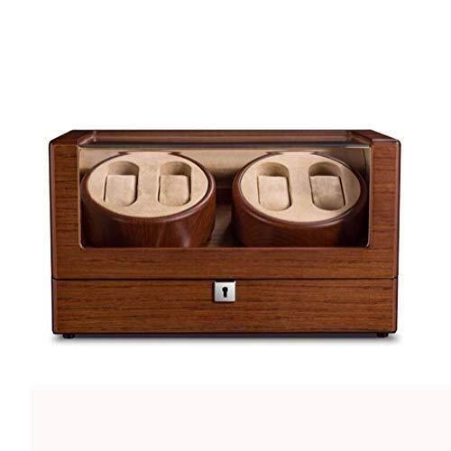 GUOOK GUOOK 4 + 0 Uhren Automatik Uhrenbeweger mit Schloss 5 Modi Holz Aufbewahrungskoffer Deluxe Silent Motor Armbanduhrenbeweger Rotator
