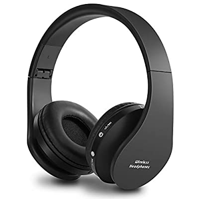 Bluetooth Headphones Wireless, yusonic Foldable Wireless and Wired Stereo Headset Built in Mic for Cell Phones, TV, PC. (Black) by Yusonic