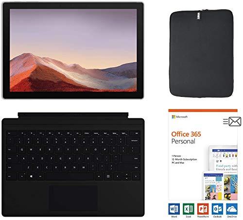 Microsoft Surface Pro 7 12.3 Inch Touchscreen Tablet PC Bundle w/Type Cover + Office 365 (1 Year) & WOOV Sleeve, Intel 10th Gen Core i3, 4GB RAM, 128GB SSD, USB-C, Windows 10, Platinum (Latest Model)