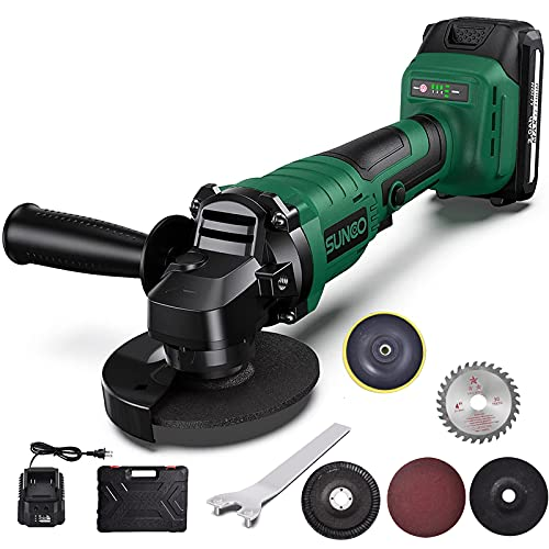 Angle Grinder Tool, SUNCOO 21V 4-1/2-Inch Grinders Cordless Die Grinder with 1 Grinding Wheels, 2 Cutting Wheels, and Auxiliary Side Handle,1 pc 2.0Ah Lithium-Ion Battery & Charger