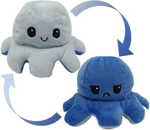 Oktopus Stimmungs Kuscheltier, Octopus Plüschtier, XXL Groß Reversible Plüschkrake niedliche Krake Cartoon Octopus Plüschtier, Flip Plüsch wenden Reversible Tintenfisch Geburtstagsgeschenk Spielzeug