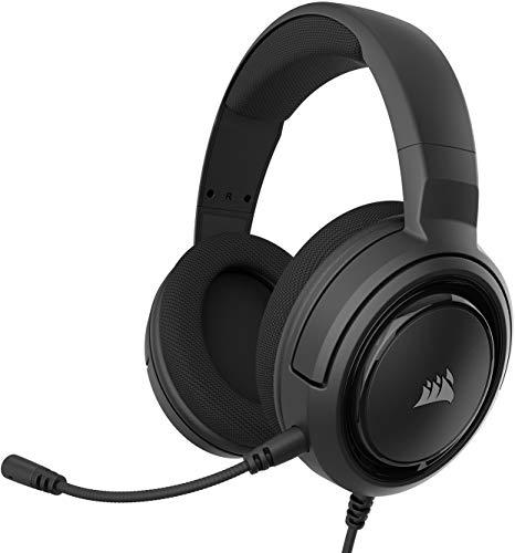 Corsair HS35 Stereo Gaming Headset (50mm Neodym Lautsprecher, Abnehmbares Unidirektionales Mikrofon, Federleichtes Design, für PC, Xbox One, PS4, Nintendo Switch und Mobilgeräte) carbon