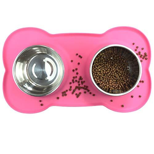 Comedero para Perros y Gato Acero Inoxidable 2x850ML,2 Cuencos Comedero para Mascotas con Base de Silicona Antideslizante(rosa)