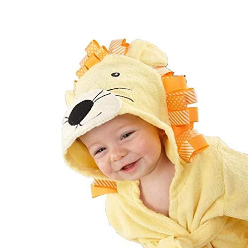 LOKKSI - Albornoz unisex con capucha, pijama de algodón esponjoso para niños de 1 a 6 años a 12 meses