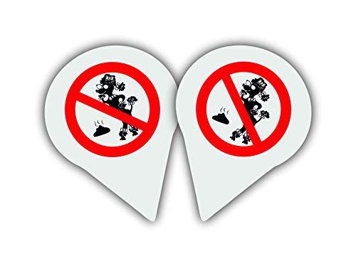 Set da 2 pezzi – nessun cartello per cani | vietato toilette per cani | cartello di avvertimento | resistente alle intemperie | alluminio | Colore: bianco con segnale di divieto rosso