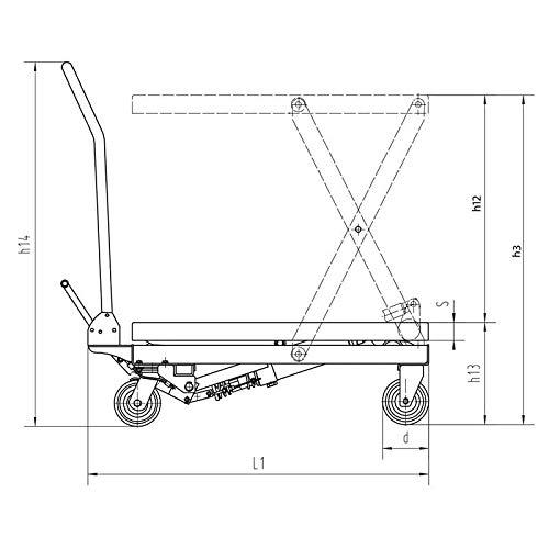Hydraulischer Hubtisch Hubtischwagen Hubstapler klappbar - Tragkraft 150 kg - Hubhöhe 740 mm - Plattform: 700 x 450 mm