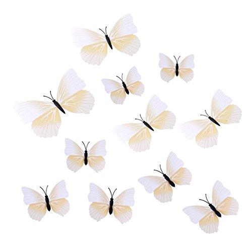 ECYC® 12Pcs / Set 3D Multi Color Butterfly Wall Stickers Bricolage pour La DéCoration De La Maison, Blanc