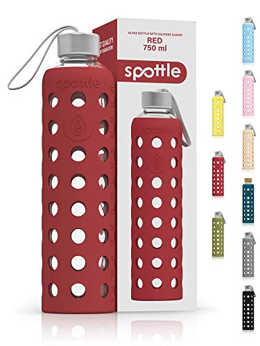 spottle Trinkflasche Glas in 500ml oder 750ml mit Silikonhülle / Glasflasche mit Schutzhülle, Wasserflasche Glas für kohlensäurehaltige Getränke - spülmaschinenfest
