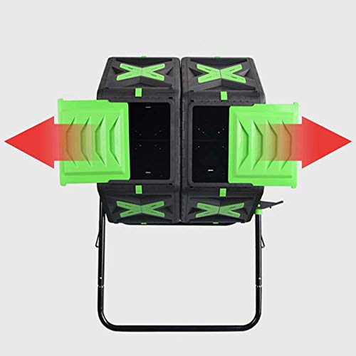 Großer Kompostierbecher, Gartenabfallbehälter, Zweikammer-Kompostbehälter, 360 ° drehbarer Komposter im Freien, Doppelfass, 70X2L