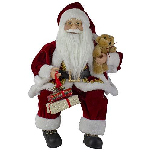 Northlight 18' Sitting Santa Christmas Figure with a Plush Brown Bear